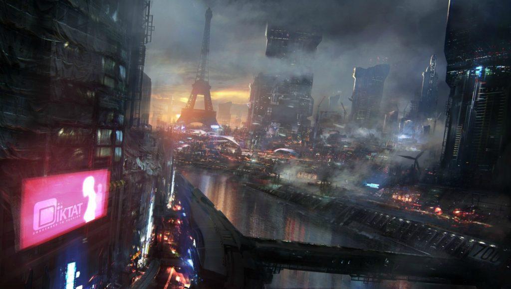 Vision d'artiste d'une version cyberpunk de Paris.